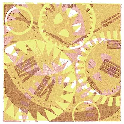 clock linocut