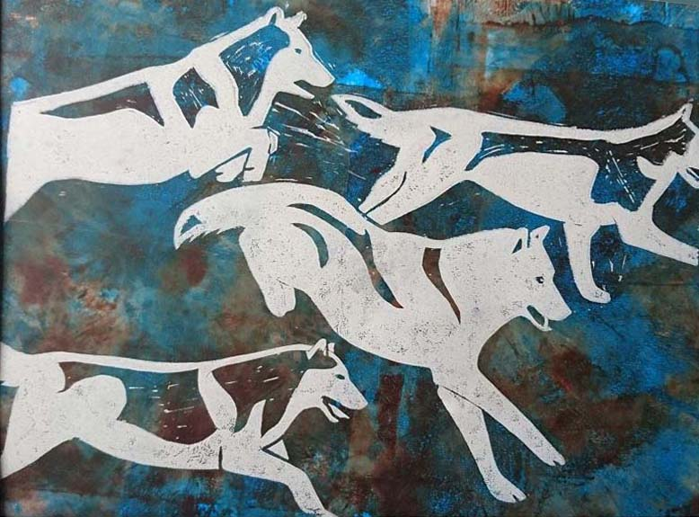 company of wolves linocut