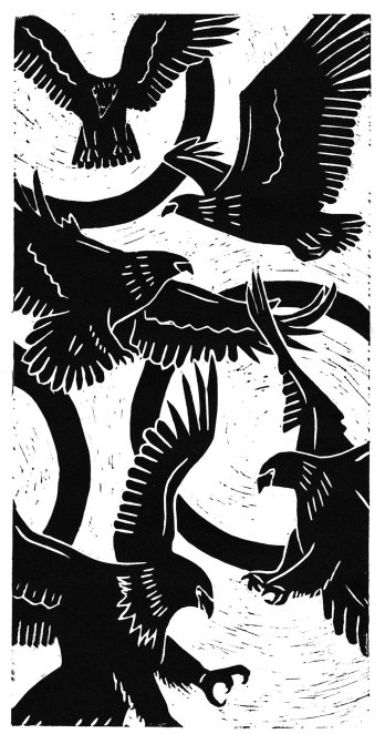 eagles linocut