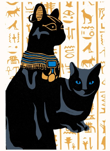 egyptian cat bast linocut