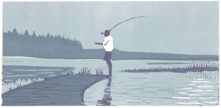 fisherman linocut