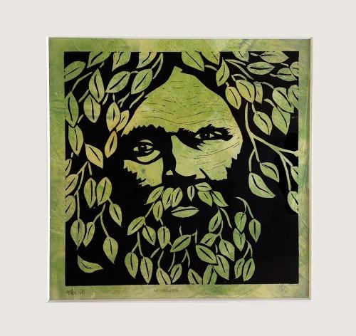 Green man linocut