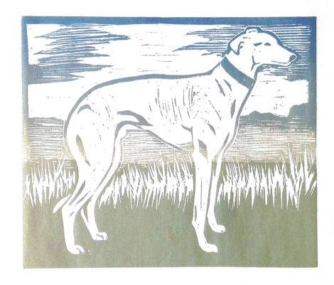 greyhound linocut