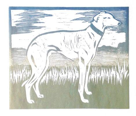 greyhound linocut
