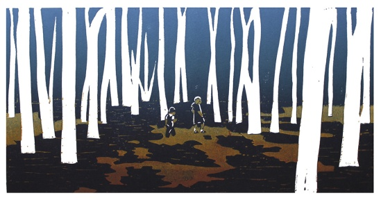 into the woods linocut