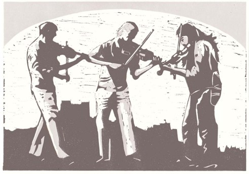 musicians linocut