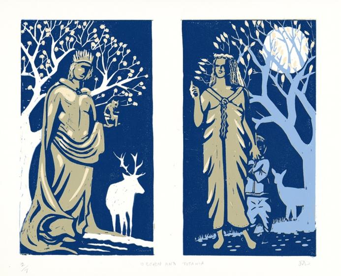 Oberon and Titania linocut