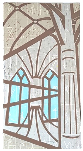 church cathedral amsterdam linocut