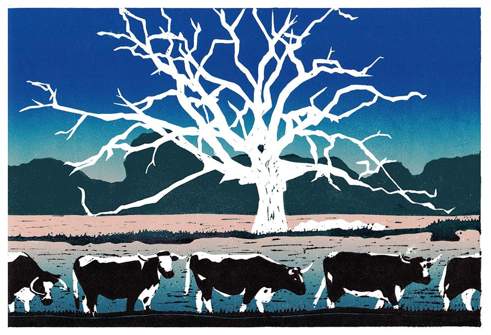 Ox Meadow linocut