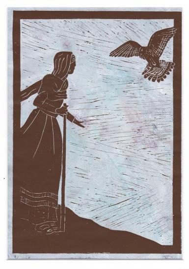 sparrowhawk linocut