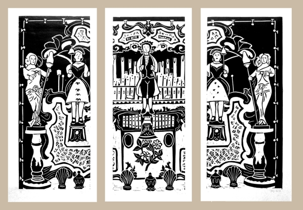 steam organ fairground organ linocut picture