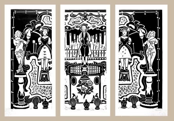 steam organ fairground organ linocut picture