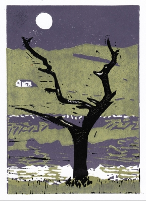 thorn tree yorkshire linocut picture