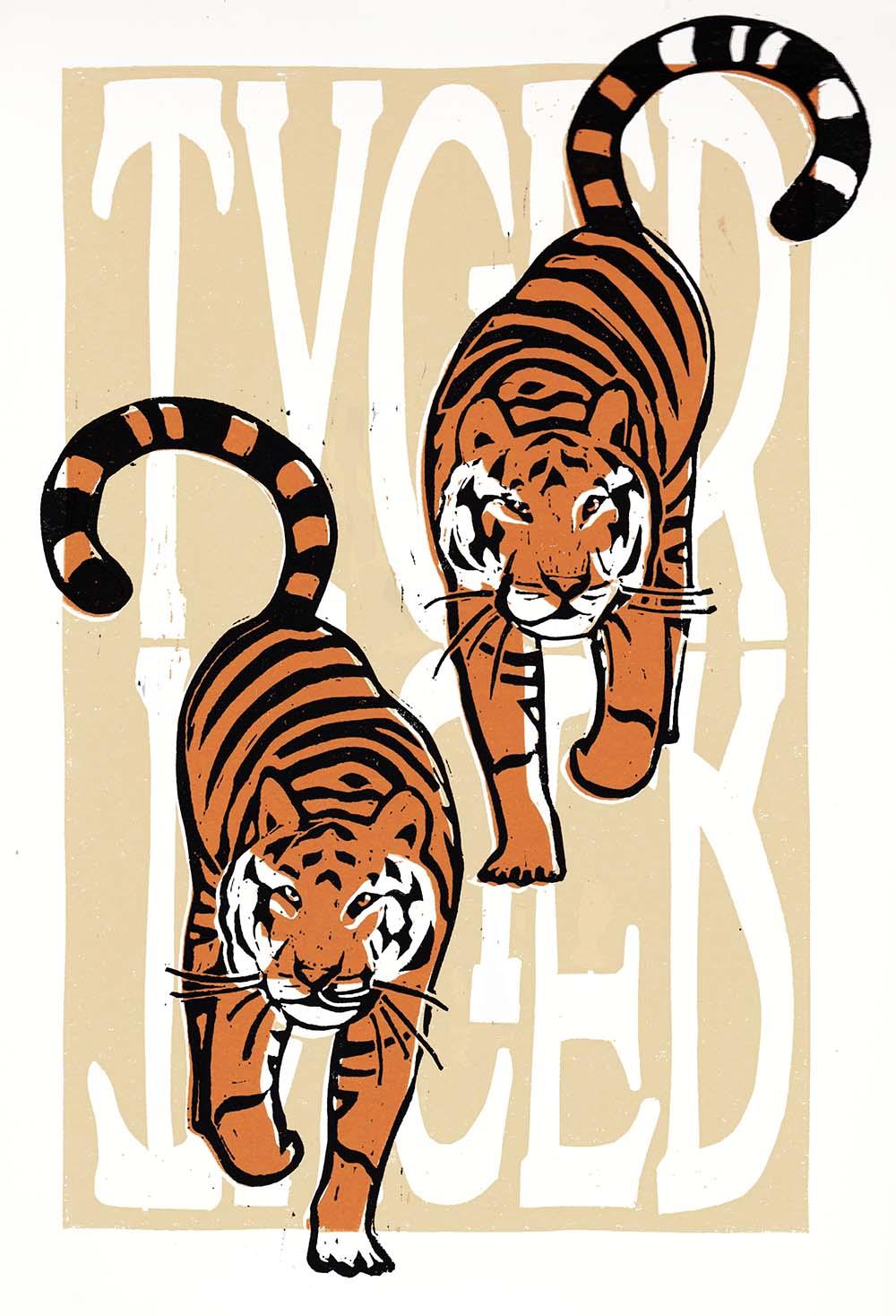 tiger tyger tyger william blake linocut art