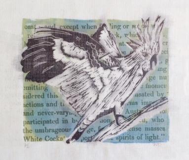 White Cockatoo mixed media print