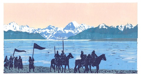 reenactment new zealand linocut mount cook lake pukaki
